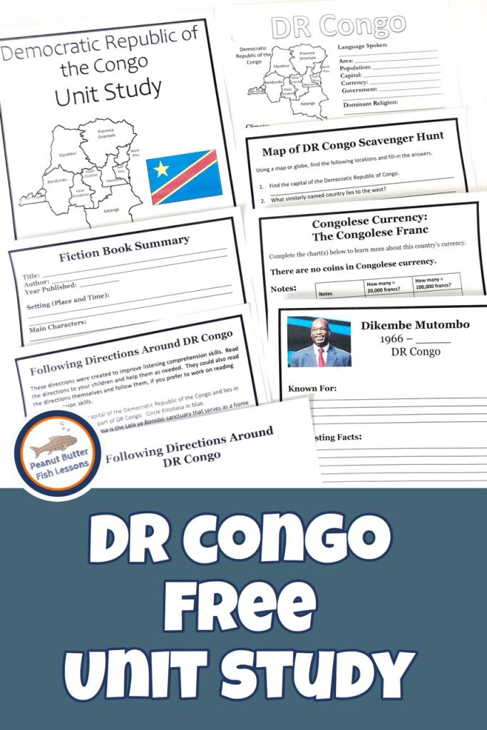 Pinnable cover for blog post Democratic Republic of the Congo Unit Study showing printable pages.