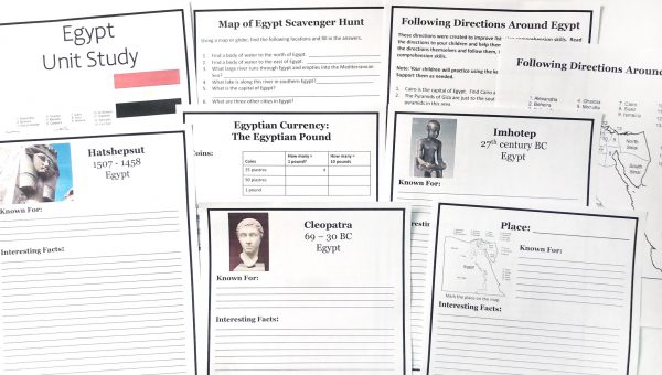 nine of the printable notebooking pages in the unit study including people notebooking pages, map scavenger hunt, following directions activity, and place notebooking page.