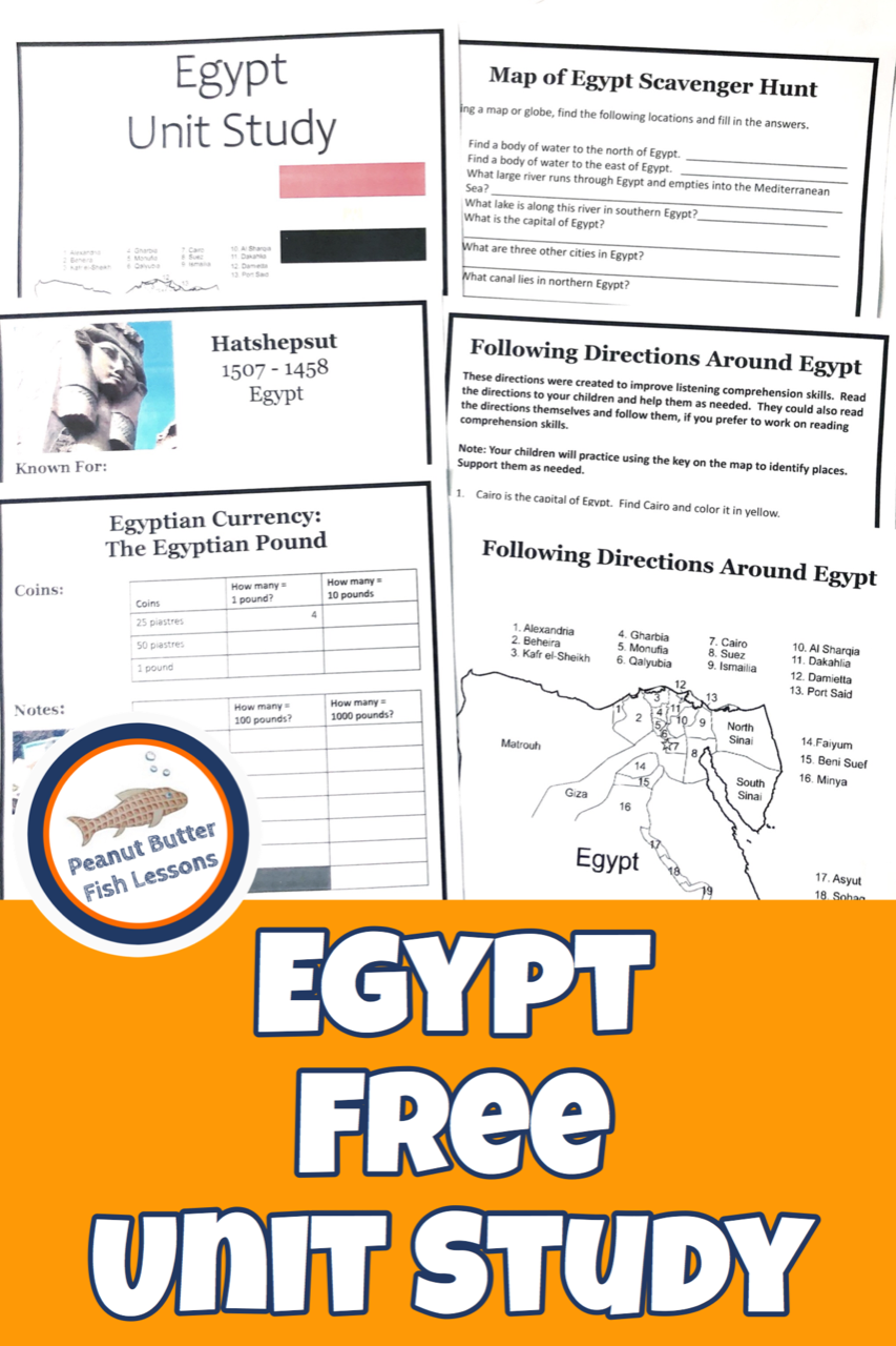 Pinnable cover for Egypt FREE Unit Study post showing six printable notebooking pages.