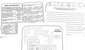 Printable pages from Flag Day Fact Pack in the Celebrate It Grab Bag.