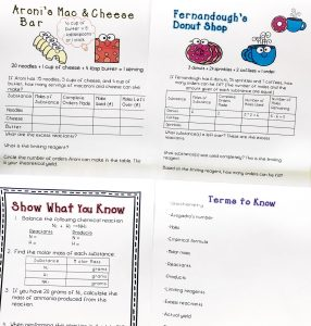 Four color printable pages Food Pairs Stoichiometry resource. from the