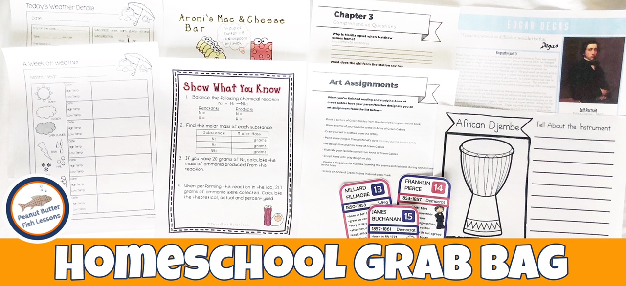 """Featured image showing several printables from the Grab Bag with the text """"Homeschool Grab Bag"""" across the bottom."""