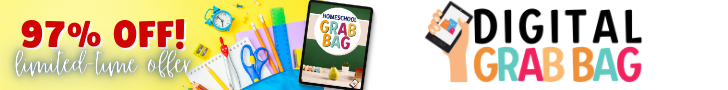 promotion graphic showing cover of Homeschool Digital Grab Bag with name and 97% off in the text.
