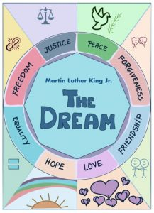 Colorful poster titled The Dream by MLK Jr. divided into eight different sections.