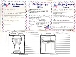 Five printable pages from Music in Our Homeschool. Three from the Star Spangled Banner printable and two instrument coloring pages with a place for notes.