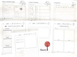Several printable pages from the nature study journal showing different ways to record information.