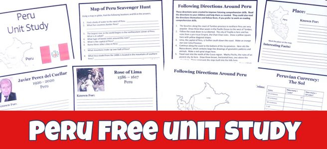 Cover to Peru Unit Study post showing free printable pages.