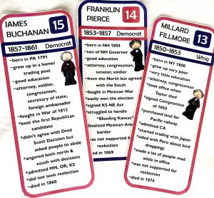 Three color printed cards for presidents 13-15 with facts and a line drawing of each president.