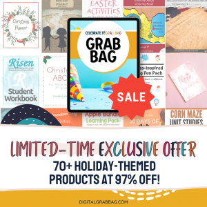 Advertisement for Digital Grab Bag with text and pictures of some of the products.