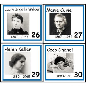 Front of four Women's History Person of the Day Cards.