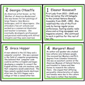 Back of four Women's History Person of the Day Cards.