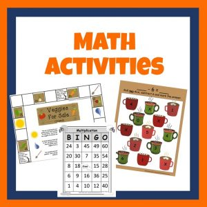 Graphic for Math Activities category showing printable math games.