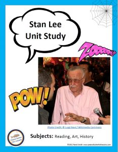 Stan Lee Unit Study printable cover showing a picture of him.