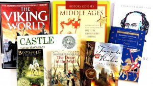 7th grade history curriculum with books that are to be read along with it throughout the year.