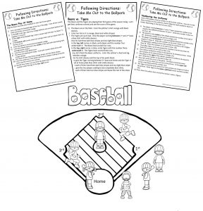 August's Following Directions packet showing three sets of printed directions and a black and white line drawing of a baseball field with children playing baseball.