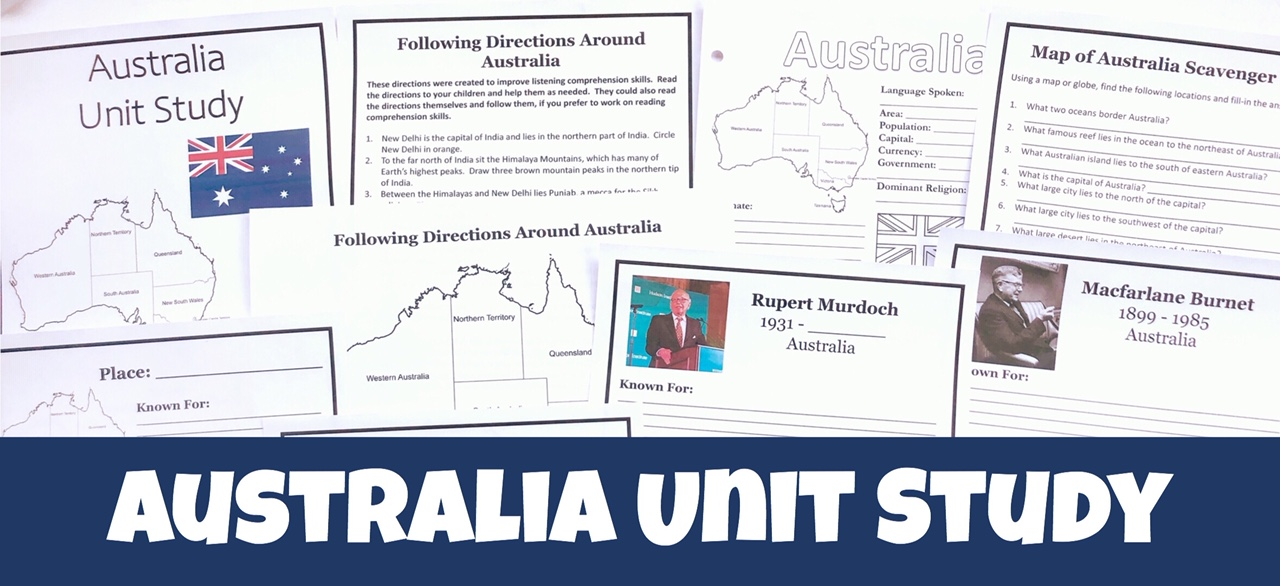 Cover to the Learn About Australia in Your Homeschool post showing printable pages from the unit study.