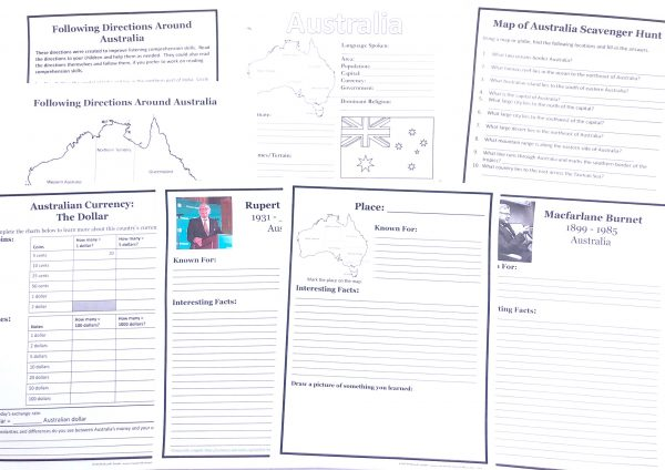 Printable pages for Australia Unit Study including following directions page with map, people notebooking pages, currency page, map scavenger hunt and Australia notebooking page.
