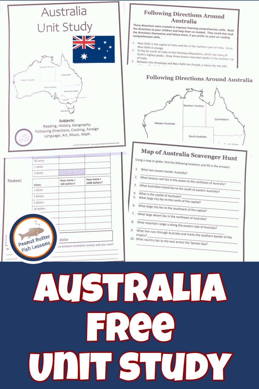 Pinnable cover to the Learn About Australia in Your Homeschool post showing printable pages from the unit study.