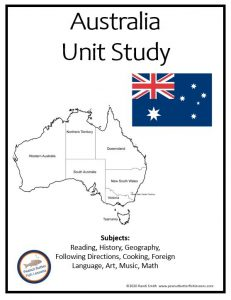Cover to printable portion of Australia Unit Study showing map, flag, and subjects included.