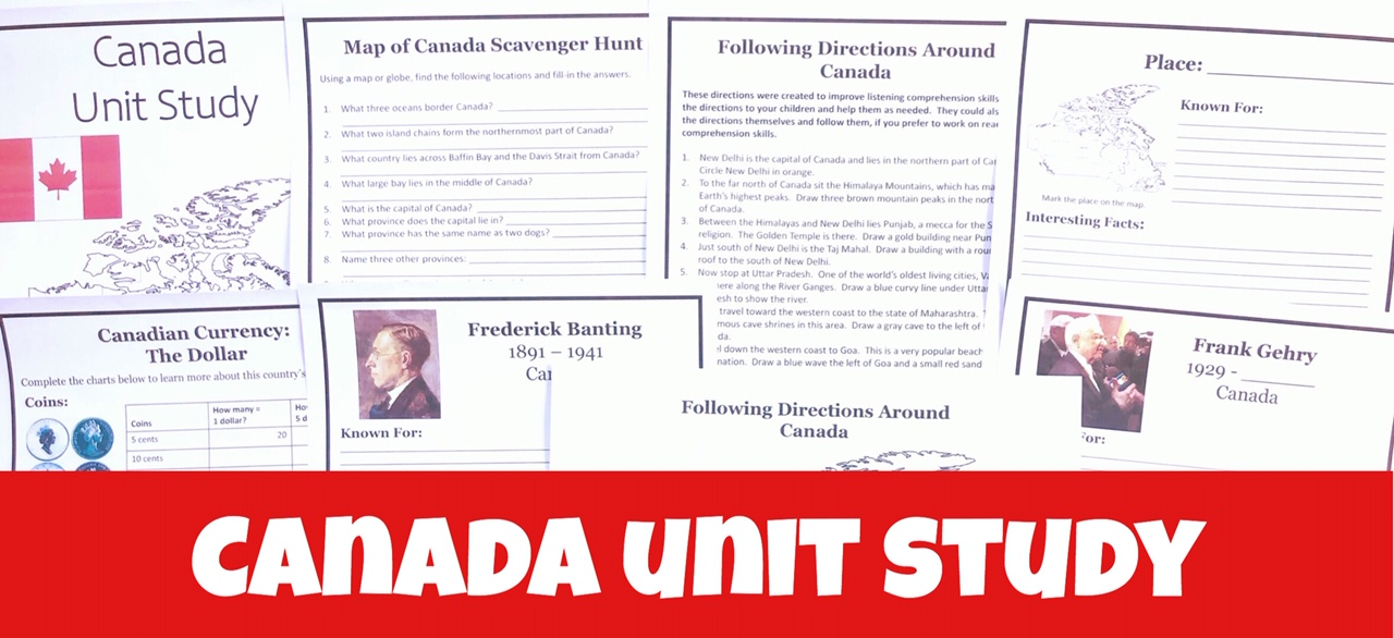 Cover for Canada FREE Unit Study showing printable pages.