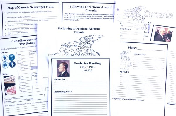 Printable notebooking pages from Canada unit study.