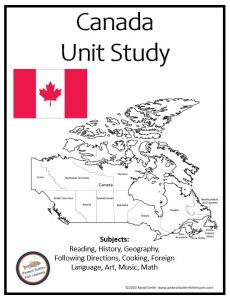 Cover of the printable unit study showing flag and country.