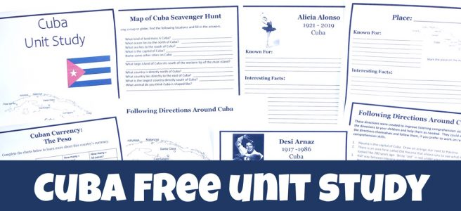 Cover of Cuba FREE Unit Study showing printable pages.
