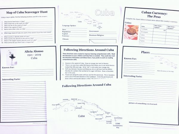 Printed notebooking pages from the Cuba FREE Unit Study.