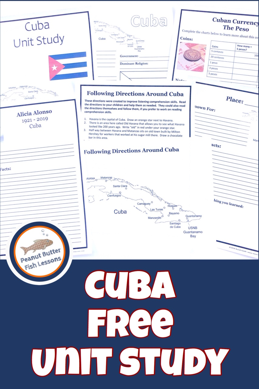 Pinnable cover of Cuba FREE Unit Study showing printable pages.