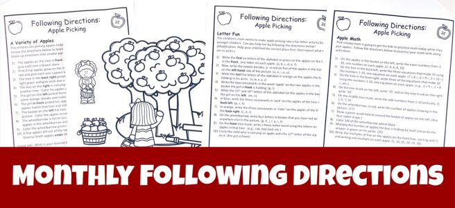 Cover to landing page for Monthly Following Directions download showing an Apple Picking Picture with three sets of directions.