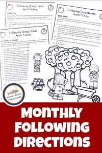 Pinnable cover to landing page for Monthly Following Directions download showing an Apple Picking Picture with three sets of directions.