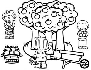 Black and white drawing of apple trees with three children picking apples.