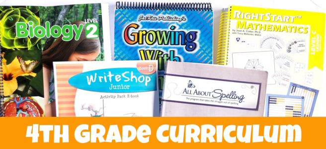 Cover for post 4th Grade Homeschool Curriculum Choices showing writing, biology, math, spelling, and grammar books.