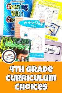 Pinnable cover for post 4th Grade Homeschool Curriculum Choices showing writing, biology, math, spelling, and grammar books.