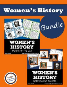 Product cover showing covers for the Women's History Person of the Day Cards and the Women's History Notebooking Pages, which each show a sample printable of the product.