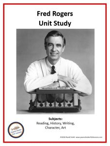 Printable cover of Fred Rogers Unit Study showing Fred Rogers and his trolley and listing the subjects covered.