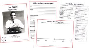 Printable pages from unit study: cover, notebooking page, timeline.