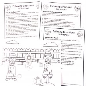 Following directions showing three pages of printed directions and a picture to be colored.
