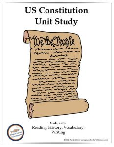 Cover for printable portion of the US Constitution Unit Study showing title and picture of the constitution.