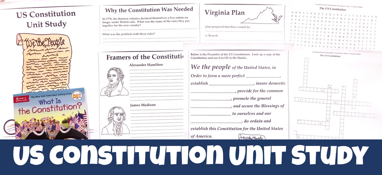 Cover for US Constitution FREE Unit Study showing printable pages and What is the Constitution? book.