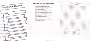 Timeline and word search printable pages from US Constitution Unit Study.