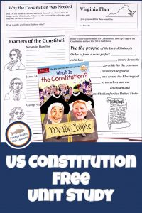 Pinnable cover for US Constitution FREE Unit Study showing printable pages and What is the Constitution? book.