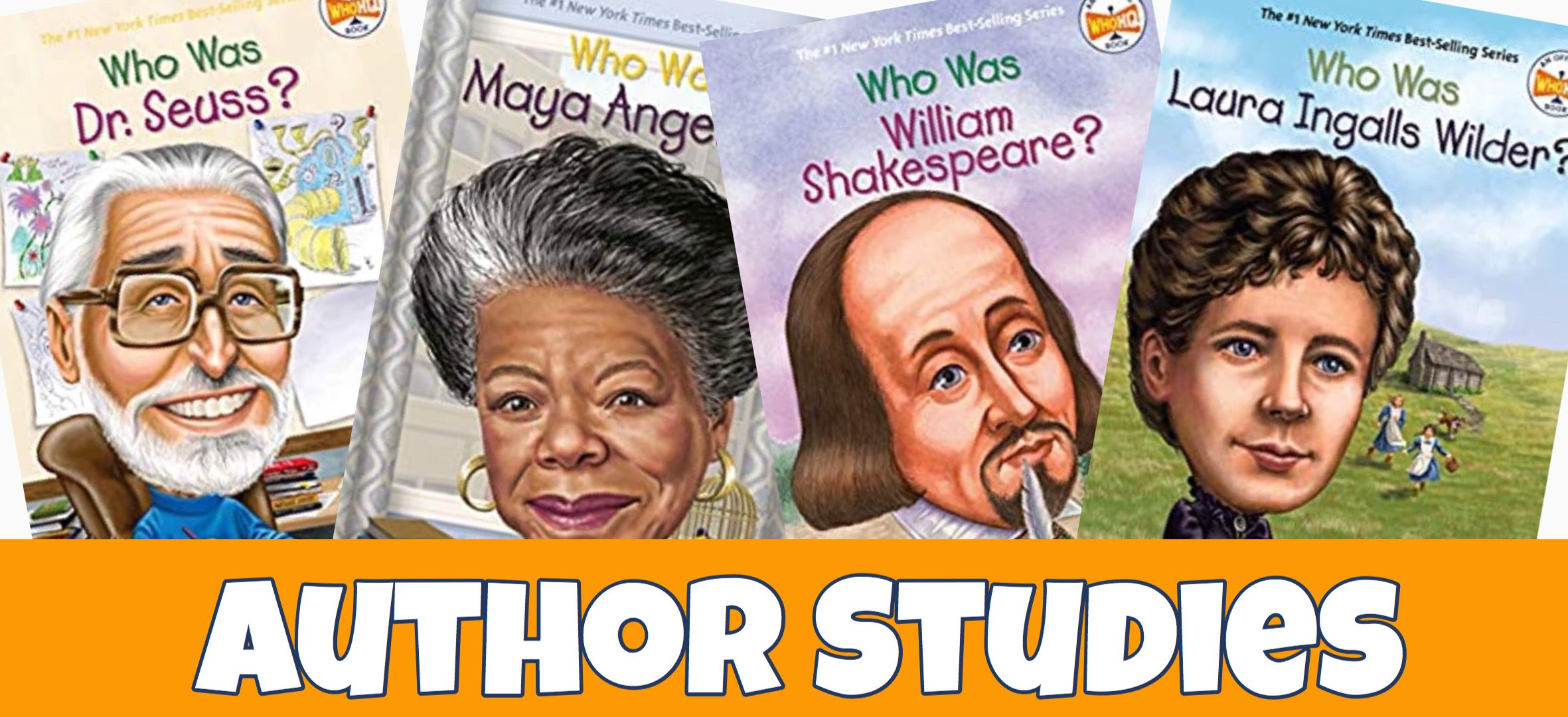 Cover for Author Studies in Your Homeschool showing covers of five biographies of authors.