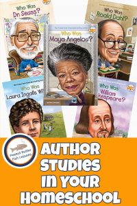 Pinnable cover for Author Studies in Your Homeschool showing covers of five biographies of authors.