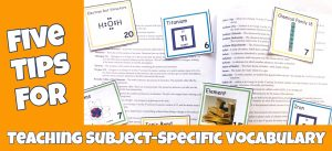 Cover image for blog post titled Five Tips For Teaching Subject-Specific Vocabulary showing glossary and chemistry vocabulary cards.