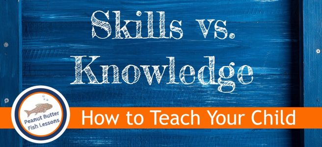 Cover image for post Homeschool Planning with a Skills vs. Knowledge Framework showing title of post on a blue background.