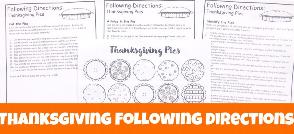 Cover image for landing page to sign-up for monthly following directions packet showing Thanksgiving Pie picture with 3 sets of directions.