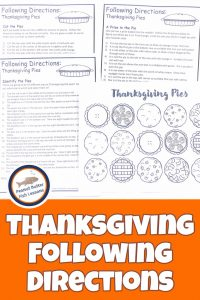 Pinnable cover image for landing page to sign-up for monthly following directions packet showing Thanksgiving Pie picture with 3 sets of directions.