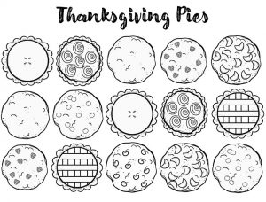 Black and white line drawings of 15 pies organized in 3 rows of 5 each.