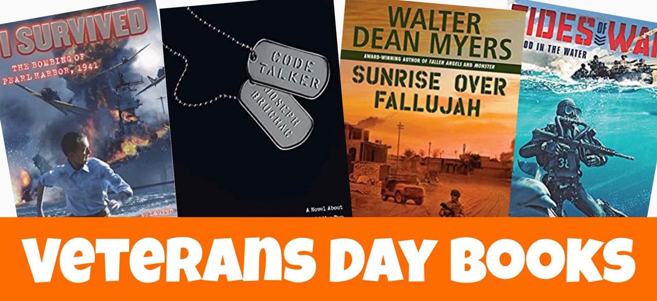 Cover image for blog post Veterans Day Chapter Books showing four different books.
